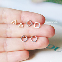 Dainty Shape Stud Post, Stud Post Earrings, Elegant Earrings, Studs, Posts, Triangle Jewelry, Necklace,Minimal,HipsterTiny Pendant Studs