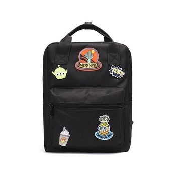 Student Backpack Children Preppy Style Embroidery Appliques Canvas Student Backpack Women Fashion School Bag Badge Female Backpacks Girls Mochilas AT_49_3