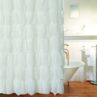 "Gypsy Ruffled Shower Curtain White 70"" wide x 72"" long"
