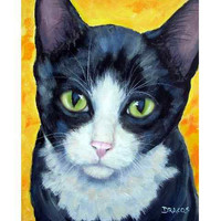 "Tuxedo Cat Art 8x10 or 11x14"" Print by Dottie Dracos, with Green Eyes on Orange and Yellow"