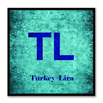 Turkey Lira Money Currency Aqua Canvas Print with Black Picture Frame Home Decor Wall Art Collection Gifts