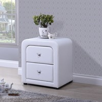 Refseth Contemporary White PU Leather Upholstered 2-Drawer Nightstand | Overstock.com Shopping - The Best Deals on Nightstands