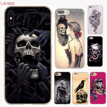 Lavaza flower Skull Lady Man Painted Hard Phone Case for Apple iPhone X 10 8 7 6 6s Plus 5 5S SE 5C 4 4S Cover Coque Shell