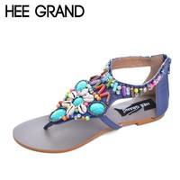 HEE GRAND Vintage Gladiator Sandals Beaded Summer Flats Slip On Rhinestone Shoes XWZ2078