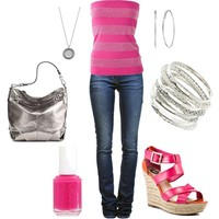 Pink and Silver (Lipsy Bling Bandeau Top $16)