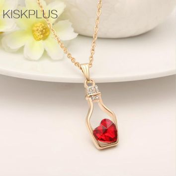 Female Trendy Cute Love Heart Peach Crystal Wishing Bottle Classic Pendant Necklaces All Compatible Hot Sale #SN0002