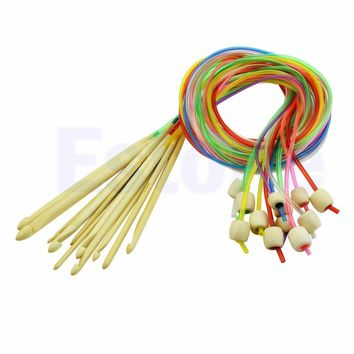 Pop 12pcs Carpet Rug Circular Colorful Wooden Crochet Hook Needles Knit 3.0-10mm