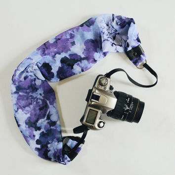 Scarf Camera Strap - Purple and Blue Floral - dSLR Camera Strap