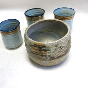 Stoneware Blue Mix Cups Bowls Set Of Four