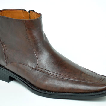 Baronett Men's Dress Ankle Side Zip Brown Leather Boots