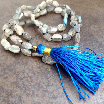 Bohemian necklace with gemstones Raw labradorite semi precious stones Grey blue silk tassel Shabby style boho jewellery Fall and winter gift