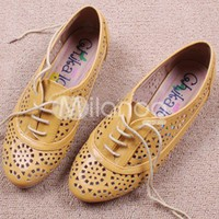 Modern England Brown Soft PU Hallow Out Womens Oxford Shoes  - Milanoo.com