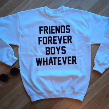 FRIENDS FOREVER BOYS WHATEVER Women's Casual Black Gray Pink & White Crewneck Sweatshirt