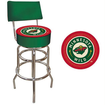 NHL Minnesota Wild Padded Bar Stool with Back