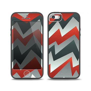 The Abstract Red, Grey and White ZigZag Pattern Skin Set for the iPhone 5-5s Skech Glow Case
