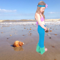 Open tailed Mermaid tail set, baby/toddler,halloween costume, photo prop, birthday gift. Ages 12 months-10 years available, other colours av