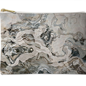 Cosmetic bag with abstract art, in grey, Geologic