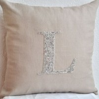 Amore Beaute Handmade Decorative Pillow Cover - Customized Silver Sequin Monogrammed Pillow -Personalized Throw Pillows -Gray Linen Pillow Cover with Hand Embroidered Monogram