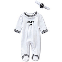 Wendy Bellissimo 3-9 Months Gingham-Trimmed Footed Coverall & Headband