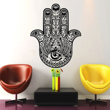 Wall Decal Yoga  Fatima Hand Hamsa Indian Buddha Ganesh Decals  Lotus Vinyl Sticker Wall Decor Home Interior Bedroom Studio Design Art MN417