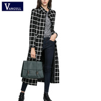 2016 women jacket New Black Plaid cashmere Wool Coat  X-long section overcoat plus size thick warm parkas Brand Overcoat
