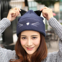 Cat Pattern Knitted Hat