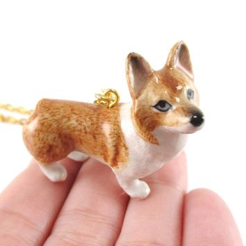 Corgi Puppy Dog Porcelain Hand Painted Ceramic Animal Pendant Necklace | Handmade