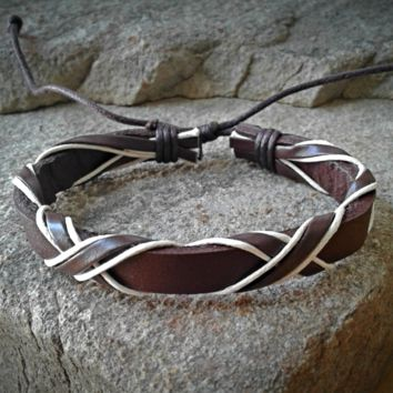 Dark Brown and White Leather  Adjustable Unisex Leather Weave Wrap Bracelets