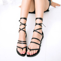 Black Bandage Rome Sandals Womens Summer Shoes Gift 03
