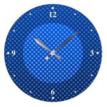 Blue spotted design large clock