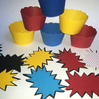 SUPER HERO: cupcake wrappers  candy bowl tags or gift tags