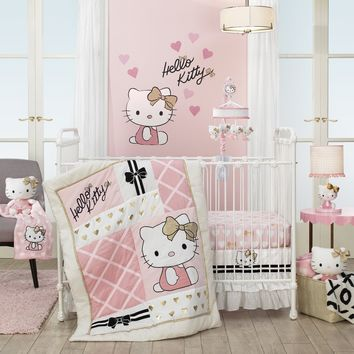 Lambs & Ivy Hello Kitty with Hearts Pink/Gold/White Nursery 3-Piece Baby Crib Bedding Set