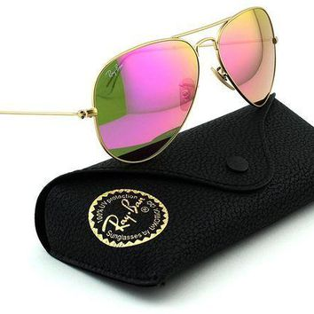 CREYDC0 Ray-Ban RB3025 Aviator Large Metal Mirrored Unisex Sunglasses (Matte Gold Frame/Pink Mirror Lens 112/4T, 58)