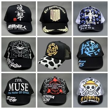 Cool Attack on Titan Anime Hats One Piece  Naruto Tokyo Ghoul Baseball Cap Sun Hat Cosplay Peak Caps AT_90_11