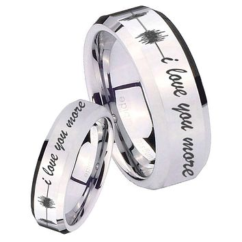 His Her Mirror Beveled Sound Wave i love you more more Silver Tungsten Wedding Rings Set