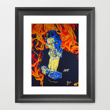 Johnny Cash Framed Art Print by Rich Anderson