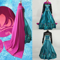 M L XL Snow Queen anna dress adult halloween princess anna Coronation cosplay costume Movie party women fancy dress   Made