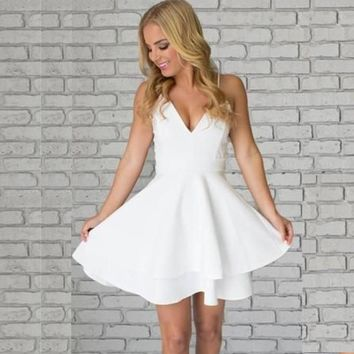 White Strap V-neck Backless Homecoming Dresses