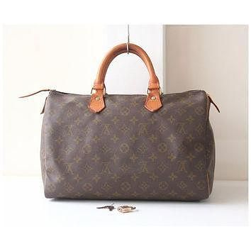 Tagre™ Louis Vuitton Speedy 35 monogram, tote bag, brown bag, vintage bags, Louis Vuitton Bag