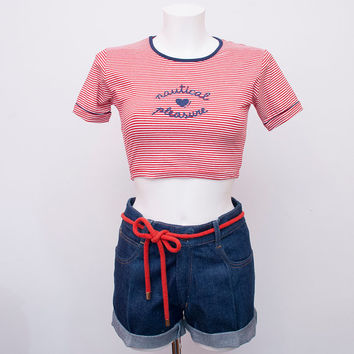 crop top NOS vintage red striped  size S