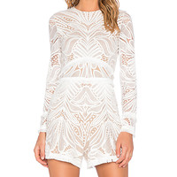 Garner Lace Fringe Romper in White Lace
