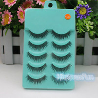 5 Pairs Stunning Makeup Handmade Messy Natural Cross False Eyelashes Eye Lashes