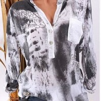 Long Sleeve Pocket Printed Shirt