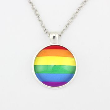 Rainbow Pride Gay Flag Love Wins Stronger Together Prejudice 25mm Glass Cabochon Pendants Necklaces Women Men Boys Jewelry Gift