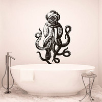 Scuba Octopus Wall Decal, Scuba Octopus Wall Sticker, Octopus Decal, Octopus Bathroom Wall Decor, Octopus Tentacles Sticker Wall Art  se033