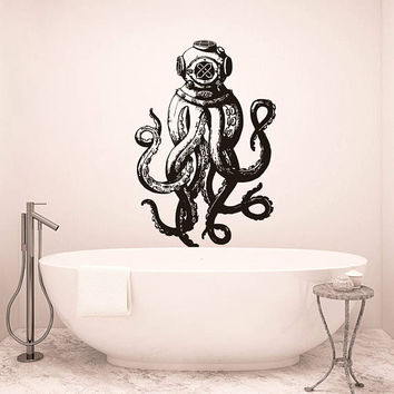 Scuba Octopus Wall Decal, Scuba Octopus Wall Sticker, Octopus Decal, Octopus  Bathroom Wall