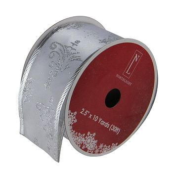 "Pack of 12 Shimmery Red and Silver Horizontal Wired Christmas Craft Ribbon Spools 2.5"" x 120 Yards Total"