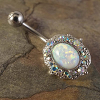 Fire Opal Belly Button Ring