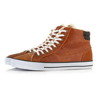 Tan Leather Look Hi Tops - View All Shoes - Shoes and Accessories