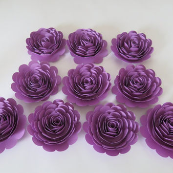 "Pretty Purple Roses Set, 10 big artificial paper flowers, 3"" roses, Girl tea party table centerpiece, Twilight birthday theme night sky"